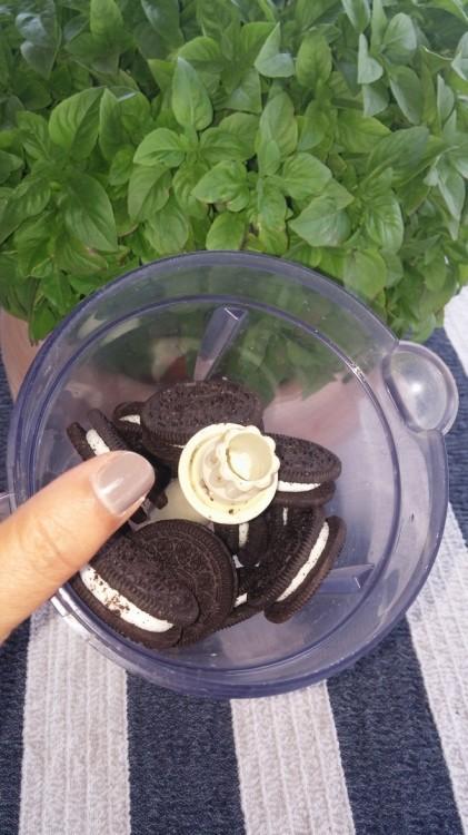 Βάζουμε στο mixer τα μπισκότα. Η μυτέρα μου τα χτυπάει ελάχιστα σε μεγάλα κομμάτια για να νοιώθει το μπισκότο...