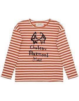 Unisex Striped Eyeglass Print Long Sleeve T-Shirt