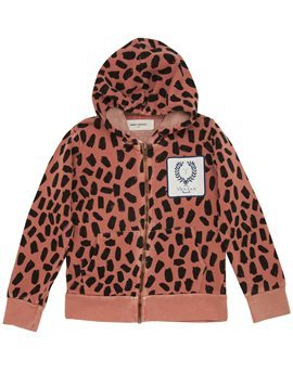 Pinkish Leopard Print Hooded Sweat Jacket