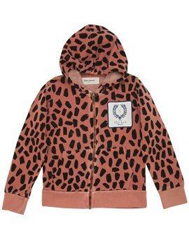 Pinkish Leopard Print Hooded Sweat Jacket