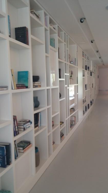 Η βιβλιοθήκη κυριαρχεί στον χώρο και εναρμονίζεται απόλυτα με αυτόν...