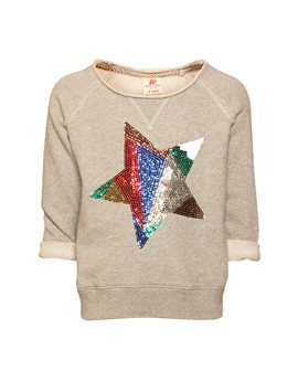 Girls Grey Sweatshirt with Sequin Star