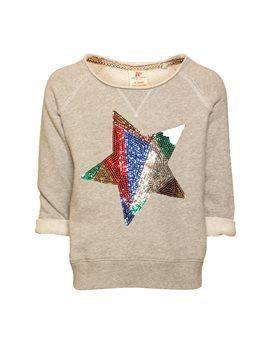 Girls Grey Sweatshirt with Sequin Star