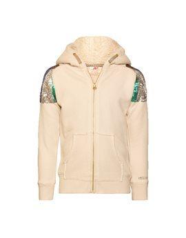 Girls Ecru Sequin Hooded Sweat Jacket