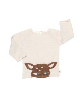Unisex Ecru Alpaca Knit Bambi Sweater