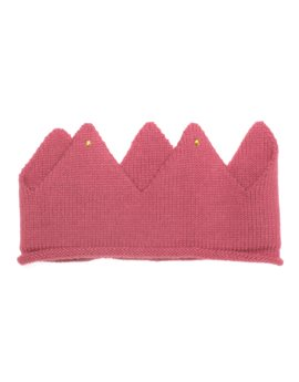 Unisex Pink Alpaca Knitted Crown