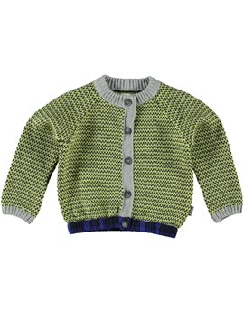 Baby Boy Green and Grey Cotton Cardigan
