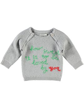 Unisex Baby Deep Green Slogan Sweater