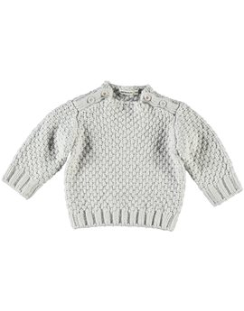 Unisex Baby Light Grey Cotton Sweater
