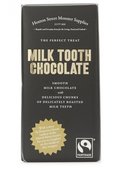 Smooth milk chocolate and chunks of delicately roasted milk teeth, discover a story for monsters young and old to complete on the inside of the wrapper