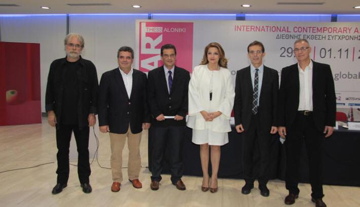 Ο Ιστορικός Τέχνης και καθηγητής του ΑΠΘ, κ. Χάρης Σαββόπουλος, ο Καλλιτεχνικός Διευθυντής της Art Thessaloniki κ. Παντελής Τσάτσης, ο Διευθύνων Σύμβουλος της ΔΕΘ-Helexpo, κ. Κυριάκος Ποζρικίδης, η Υφυπουργός Πολιτισμού και Αθλητισμού, κα Άντζελα Γκερέκου, ο Πρόεδρος της ΔΕΘ-Helexpo, κ. Τάσος Τζήκας και ο καθηγητής Φιλοσοφίας της Τέχνης και Σύμβουλος Πολιτισμού του Πρωθυπουργού, κ. Δημοσθένης Δαββέτας