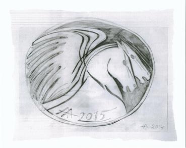 """Το προσχέδιο του ΤΥΧΕΡΟΥ 2015,  """"Άλογα του Ήλιου"""", της Α. Αθανασιάδη, μπορείτε να το βρείτε και σε digital prints (giclee) στη Γκαλερί Ζουμπουλάκη,  Πλ. Κολωνακίου 20"""