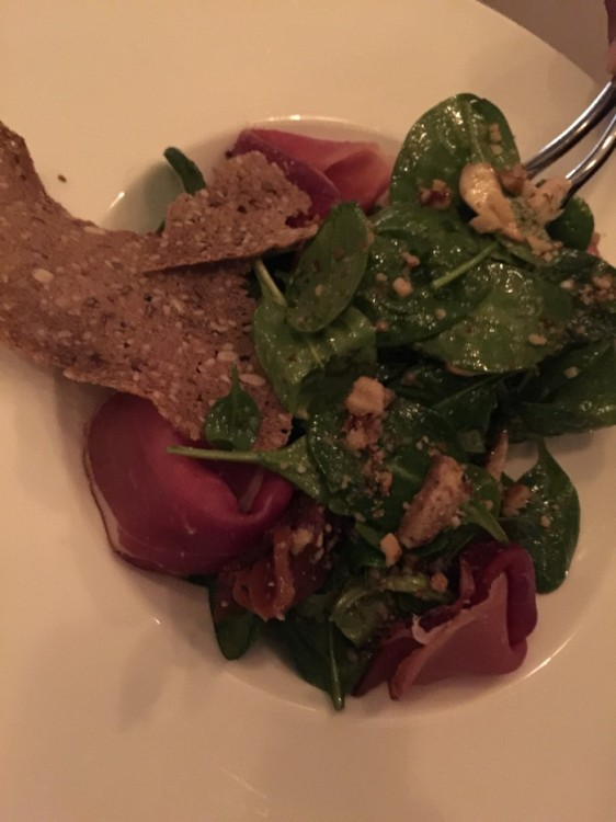 Spinach salad with black forest ham, sliced Portobello mushrooms, poached figs, nuts, Gorgonzola and Dijon mustard dressing....