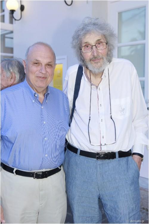 Ο καθηγητής του Harvard και President του Κολεγίου Αθηνών, Σπύρος Πολλάλης με τον ζωγράφο Σωτήρη Σόρογκα