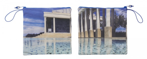 Waterproof Summer Beach Pouch with photo of Amanzoe printed on it.