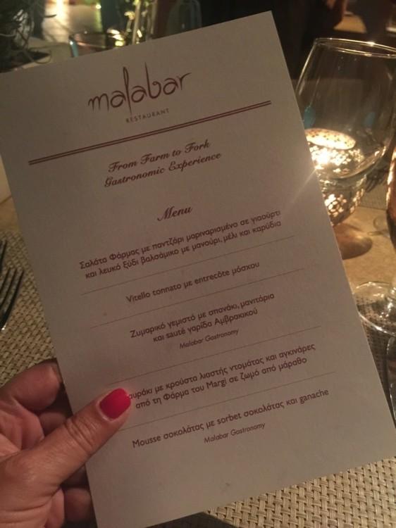Στο  Malabar restaurant ο ταλαντούχος executive chef Παναγιώτης Γιακαλής, δημιουργεί πιάτα εμπνευσμένα από την ελληνική και μεσογειακή κουζίνα όπως, σολωμό με μπρόκολο ποσέ-τριμμένο αυγοτάραχο και σάλτσα Hollandaise με τομάτα , κριθαρότο με σπαράγγια, jamon bellota και flakes παρμεζάνας αλλά και mousse σοκολάτας με sorbet σοκολάτας και ganage χρησιμοποιώντας στα περισσότερα πιάτα, τα θρεπτικά και φρέσκα προϊόντα της φάρμας του The Margi όπως εποχικά λαχανικά, οπωροκηπευτικά αλλά και αυγά ελευθέρας βοσκής.