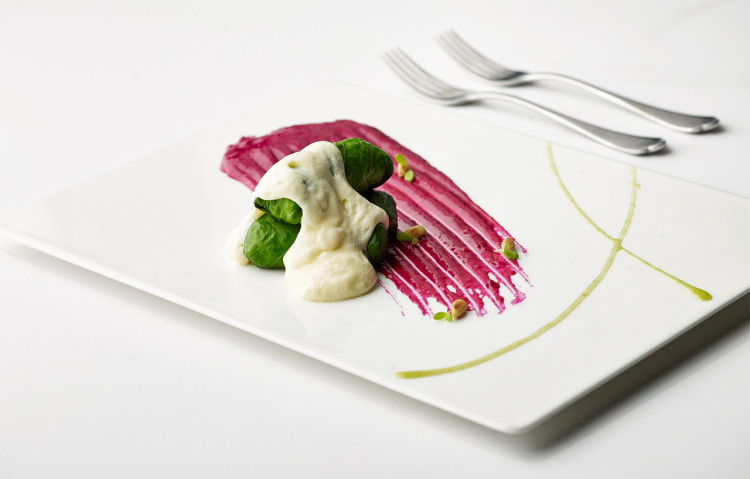 Lettuce leaves stuffed with langoustines, red beet puree, parsley syrup