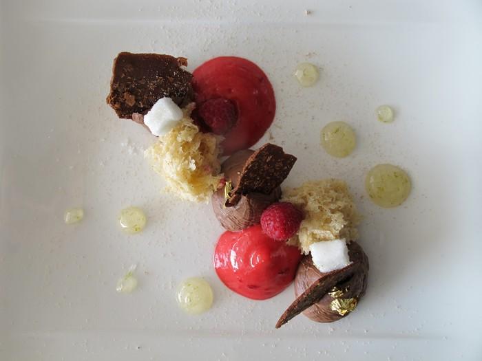 Chocolate mousse with lime, hazelnut sponge, raspberry espuma & iced marshmallow