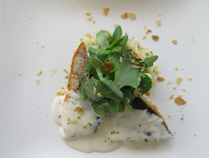 Sea bass, crushed potatoes with chive & light coconut - lime sauce