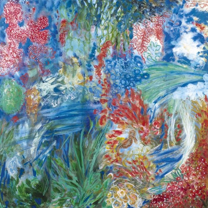 Κοραλλιότοπος, 100 χ 100 cm, λάδι σε καμβά  Coral reef, 100 χ 100 cm, oil on canvas