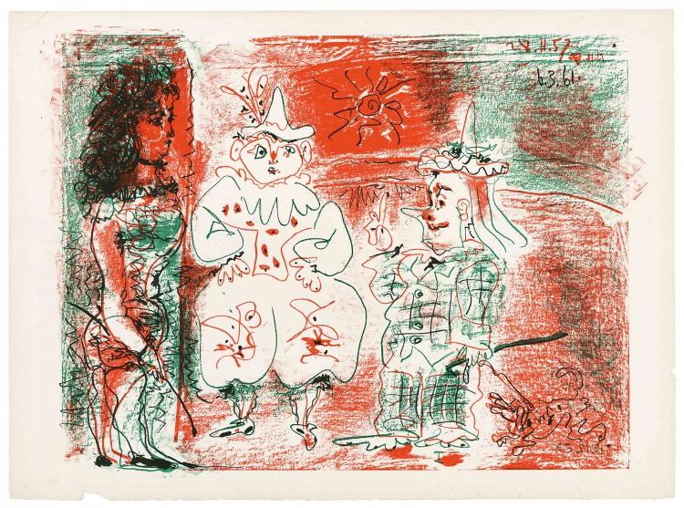 Πάμπλο Πικάσο, Η ιππέας τσίρκου και οι κλόουν, 6.3.1961_Λιθογραφία, 56 × 76,1 εκ.