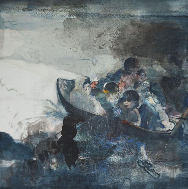 Πέρασμα, 2016, μελάνι και ακρυλικό σε ρυζόχαρτο μαρουφλαρισμένο σε καμβά, 130 x 130 εκ.