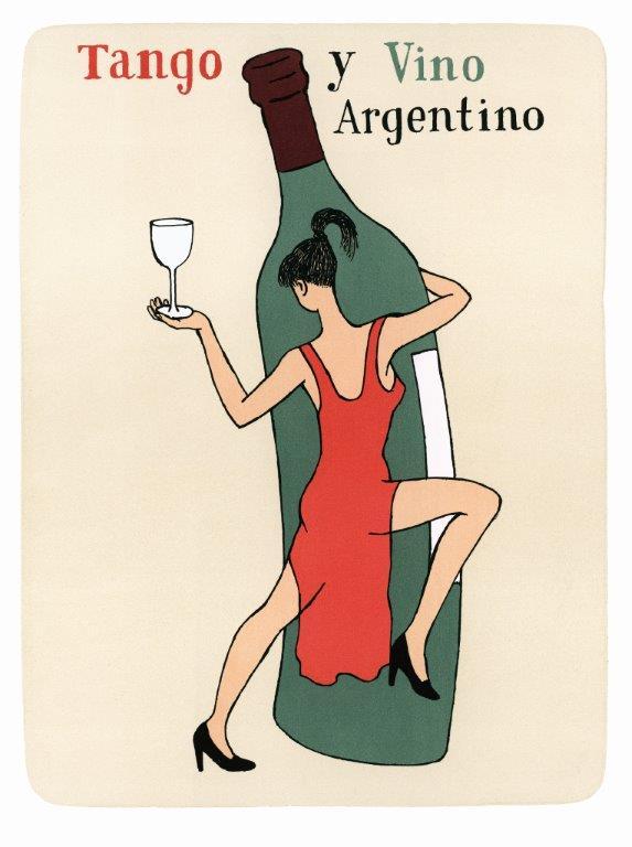 Tango y Vino Argentino, 2011, έγχρωμη λιθογραφία
