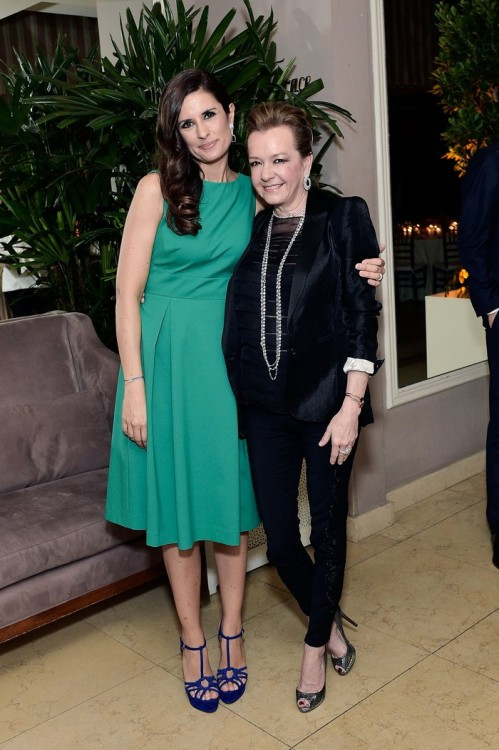 WEST HOLLYWOOD, CA - FEBRUARY 26: Livia Firth and Caroline Scheufele attend an intimate dinner celebrating ChopardÕs Journey to Sustainable Luxury hosted by Colin & Livia Firth and Caroline Scheufele on February 26, 2016 in West Hollywood, California. (Photo by Stefanie Keenan/Getty Images for Chopard) *** Local Caption *** Livia Firth;Caroline Scheufele