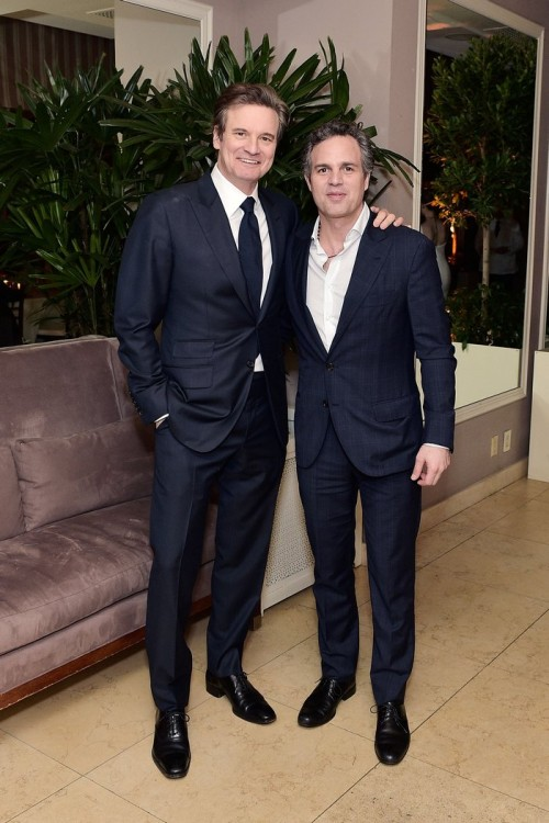 WEST HOLLYWOOD, CA - FEBRUARY 26: Colin Firth and Mark Ruffalo attend an intimate dinner celebrating ChopardÕs Journey to Sustainable Luxury hosted by Colin & Livia Firth and Caroline Scheufele on February 26, 2016 in West Hollywood, California. (Photo by Stefanie Keenan/Getty Images for Chopard) *** Local Caption *** Colin Firth, Mark Ruffalo