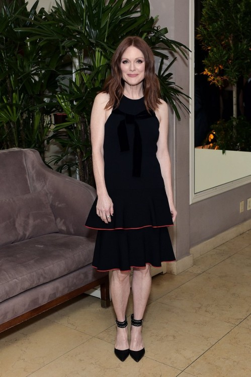WEST HOLLYWOOD, CA - FEBRUARY 26: Julianne Moore attends an intimate dinner celebrating ChopardÕs Journey to Sustainable Luxury hosted by Colin & Livia Firth and Caroline Scheufele on February 26, 2016 in West Hollywood, California. (Photo by Stefanie Keenan/Getty Images for Chopard) *** Local Caption *** Julianne Moore