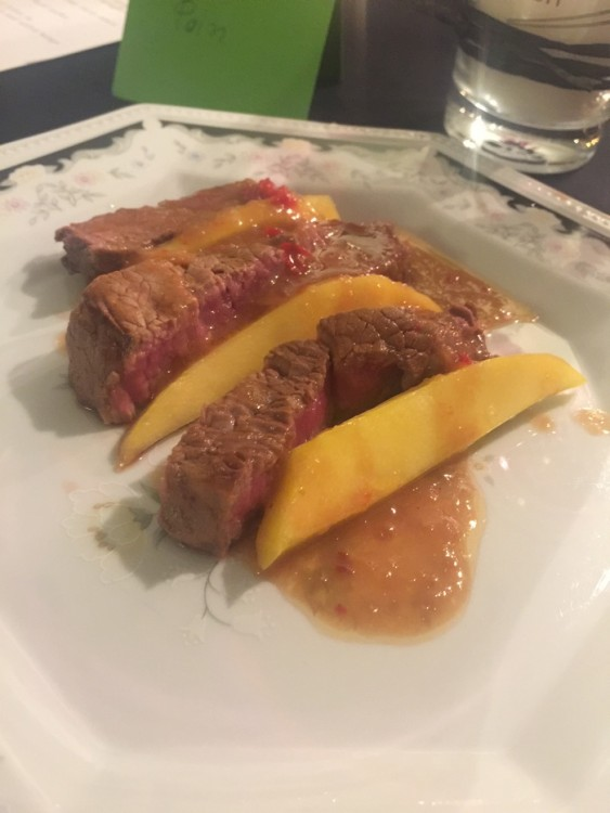 Beef fillet in hot & sour sauce and salted mango!