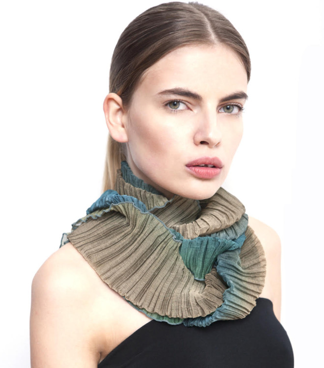 Sculptural pleated scarf