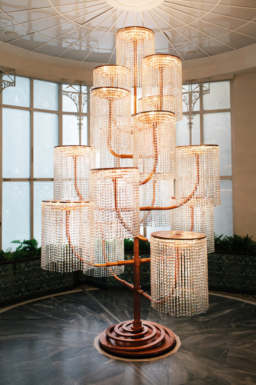 Chandelier, 2015 Copper, crystal and light fixtures, 400 x 240 x 230 cm photo Paris Tavitian ©Museum of Cycladic Art