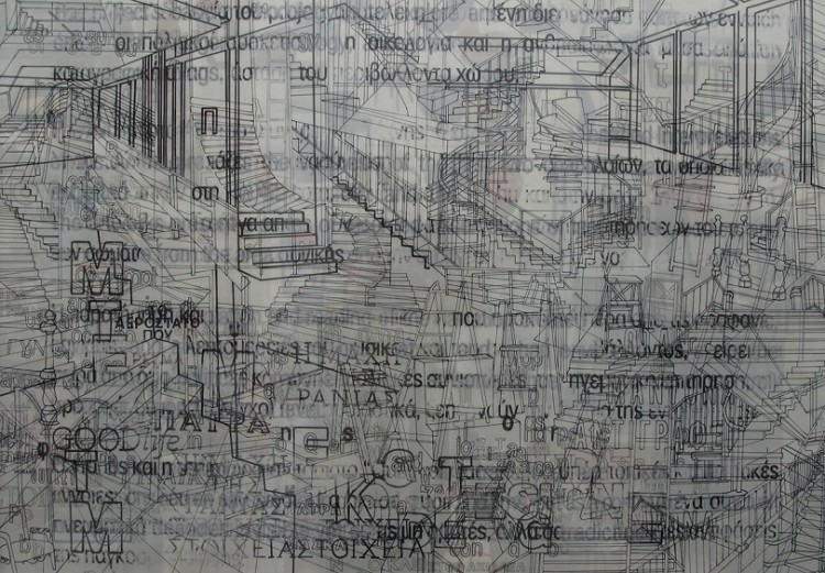 Katerina Zafeiropoulou, Objectivity Nο6, 2015, Glass marker, graphite on rice paper and glass, photo collage on frame, 70x100cm