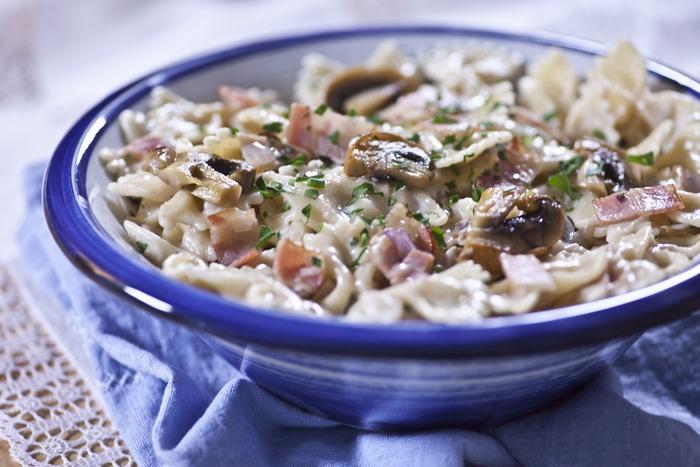 Φαρφάλες με καπνιστό μπέικον, φρέσκα μανιτάρια champignion, παρμεζάνα & κρέμα γάλακτος Τιμή για 2 μερίδες: 10,60€...Μια γρήγορη και εύκολη συνταγή που θα λατρέψουν μικροί και μεγάλοι!Το πλούσιο σε γεύση μπέικον, σε συνδυασμό με τη φρεσκάδα των μανιταριών, δημιουργούν ένα εξαιρετικό πιάτο!