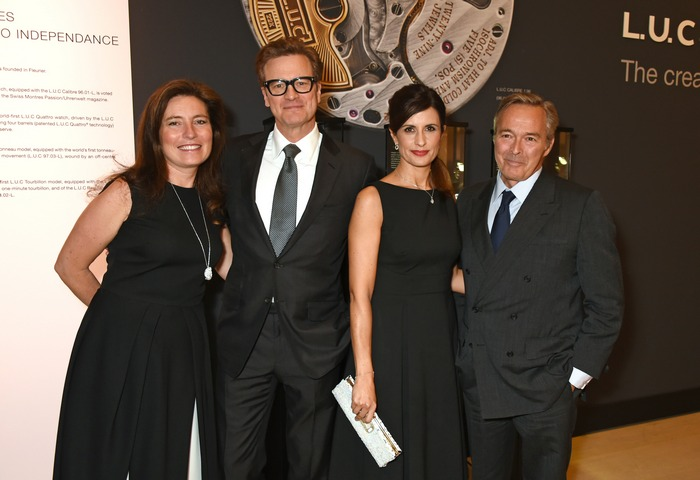 LONDON, ENGLAND - OCTOBER 11: (L to R) Christine Scheufele, Colin Firth, Livia Firth and Karl-Friedrich Scheufele, Co-President of Chopard, attend the cocktail opening of the Chopard exhibition 'L.U.C - L'art d'une Manufacture' at Phillips Gallery on October 11, 2016 in London, England. Pic Credit: Dave Benett
