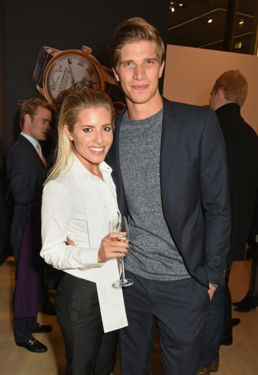 LONDON, ENGLAND - OCTOBER 11: Mollie King (L) and Toby Huntington-Whiteley attend the cocktail opening of the Chopard exhibition 'L.U.C - L'art d'une Manufacture' at Phillips Gallery on October 11, 2016 in London, England. Pic Credit: Dave Benett