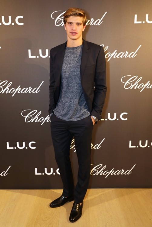 LONDON, ENGLAND - OCTOBER 11: Toby Huntington-Whiteley attends the cocktail opening of the Chopard exhibition 'L.U.C - L'art d'une Manufacture' at Phillips Gallery on October 11, 2016 in London, England. Pic Credit: Dave Benett