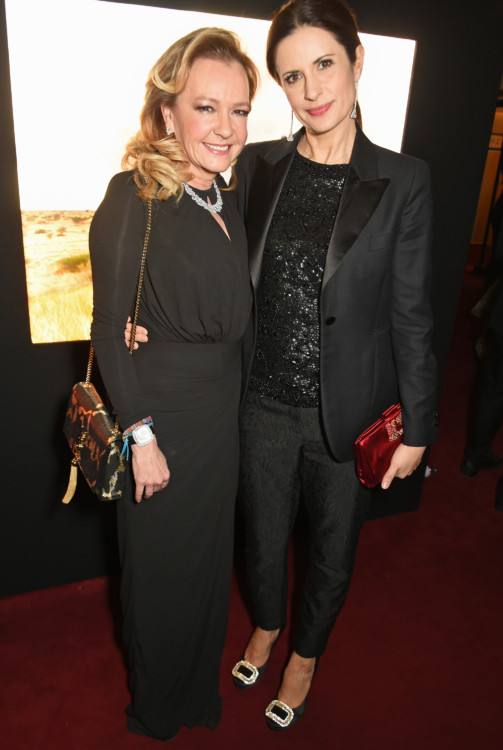 PARIS, FRANCE - JANUARY 21: Caroline Scheufele, Artistic Director and Co-President of Chopard, and Livia Firth attend as Chopard presents The Garden Of Kalahari collection at Theatre du Chatalet on January 21, 2017 in Paris, France. Pic Credit: Dave Benett