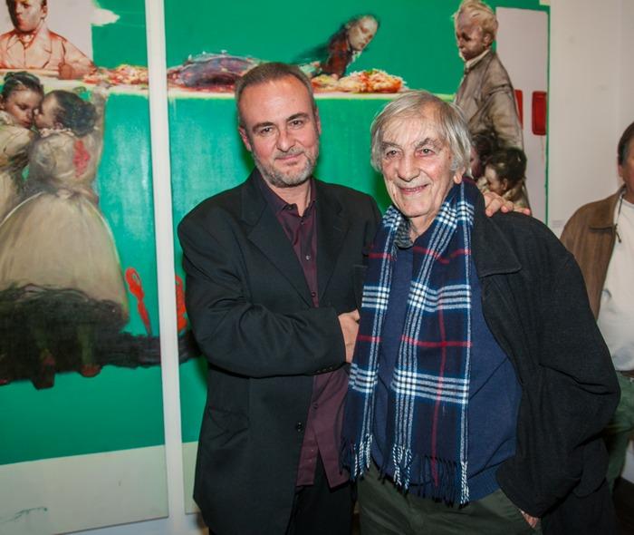 Ο ζωγράφος Τάσος Μισούρας με τον Δάσκαλό του Δημοσθένη Κοκκινίδη.