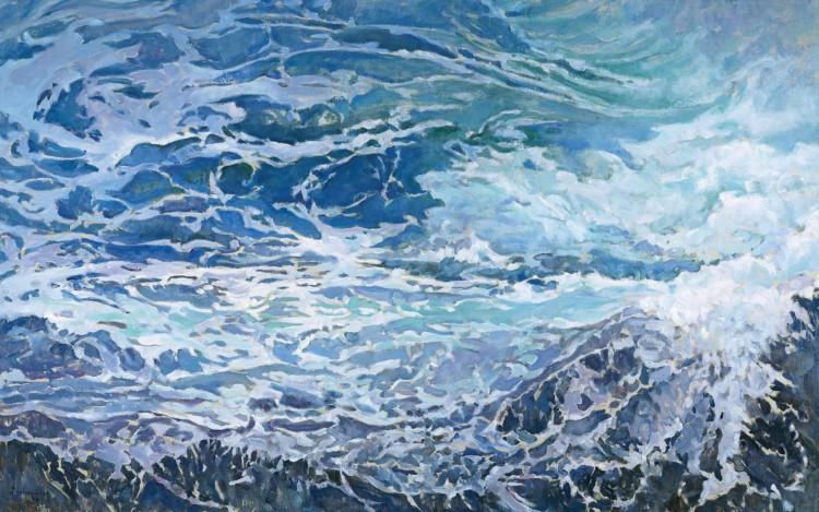 Μέσα στην αντάρα της θάλασσας, 2012 Βασίλης Θεοχαράκης Λάδι σε µουσαµά, 125 x 200 εκ. Ιδιωτική Συλλογή