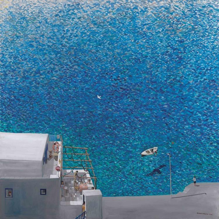 Βάρκα µε τη σκιά της, 2007 Κώστας Παπανικολάου Αβγοτέµπερα σε µουσαµά, 180 x 180 εκ. Συλλογή Σωτήρη Φέλιου