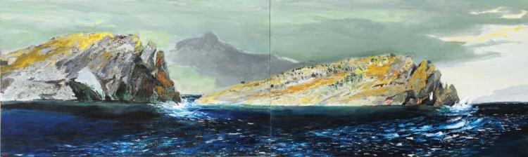 Ακρωτήριο Σκύλαιον ΙΙ, 2011-2014 Παναγιώτης Τέτσης Λάδι σε µουσαµά, 125,5 x 421 εκ. Εθνική Πινακοθήκη και Μουσείο Αλεξάνδρου Σούτζου ∆ωρεά του καλλιτέχνη