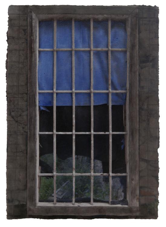 Windows Miserere 16.A.6, 2016. Digital pigment print on handmade indian paper, oil, graphite, balsa. 42x30cm