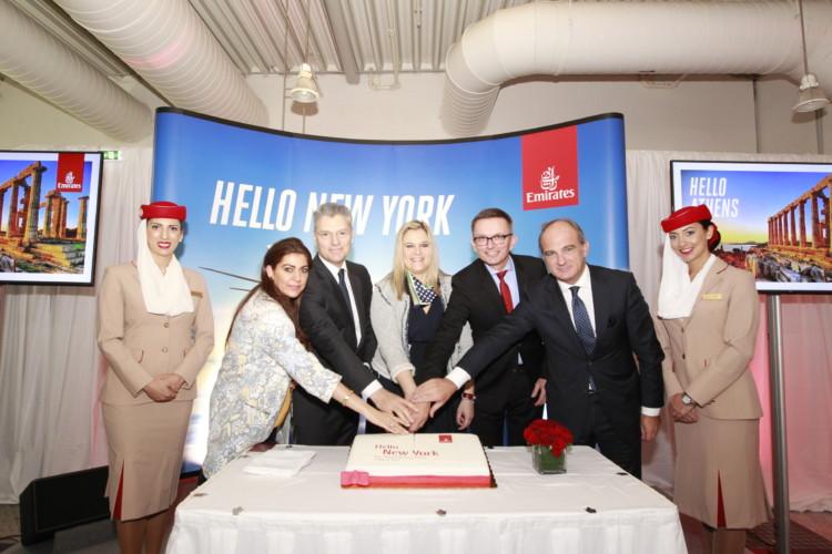 Η Emirates γιορτάζει στην Αθήνα την άφιξη της εναρκτήριας πτήσης Ντουμπάι - Αθήνα - Νέα Υόρκη. Από αριστερά προς τα δεξιά: οι κ.κ. Reema Al Marzooqi - Emirates Area Manager Greece & Albania, Γιάννης Παράσχης - CEO Διεθνούς Αερολιμένα Αθηνών, Ευρυδίκη Κουρνέτα ΓΓ Υπουργείου Τουρισμού, Hubert Frach- Emirates Divisional Senior Vice President Commercial Operations West, Tierry Aucoc - Emirates SVP Commercial Operations Europe & Russian Federation